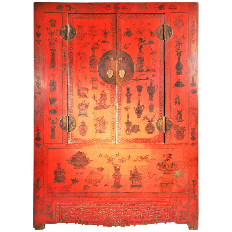 Chinese Red Lacquer Wedding Cabinet