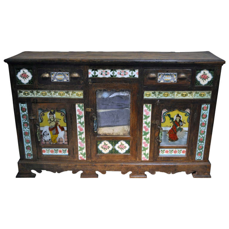 Midcentury British Colonial Sideboard with Ceramic Tiles