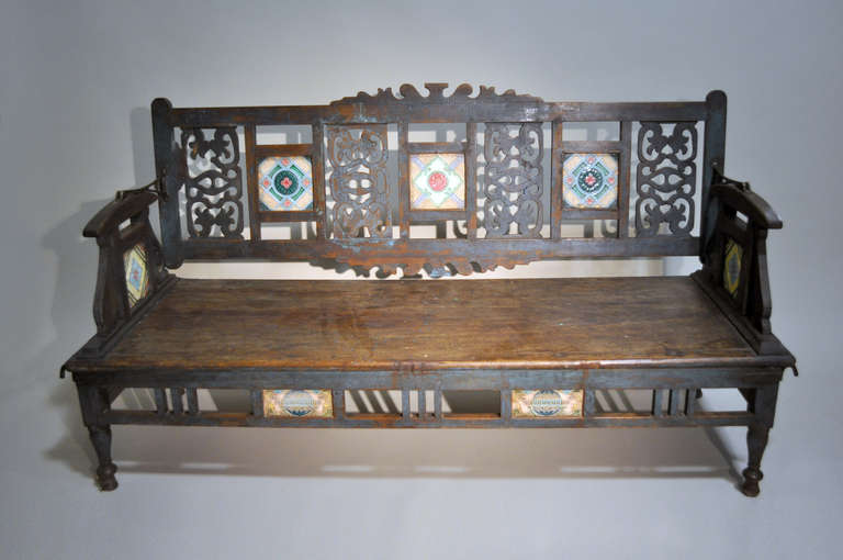 Indian Bench with Ceramic Tiles 2 - Indian Bench With Ceramic Tiles At 1stdibs