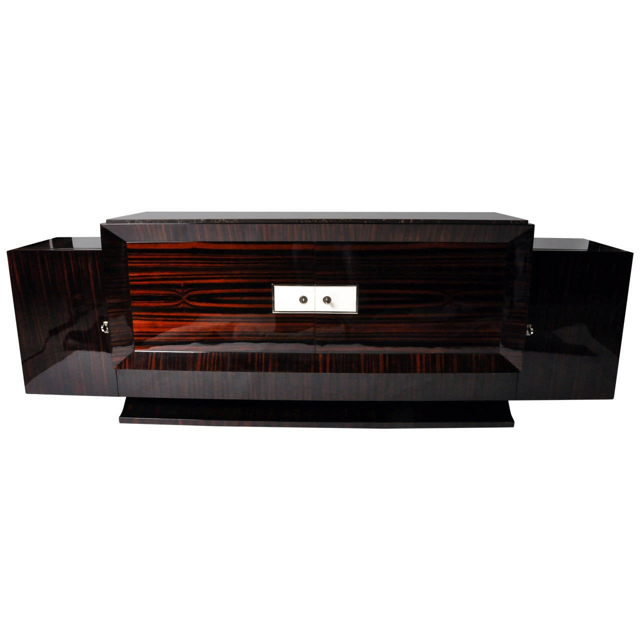 makassar veneered art deco console for sale at 1stdibs. Black Bedroom Furniture Sets. Home Design Ideas
