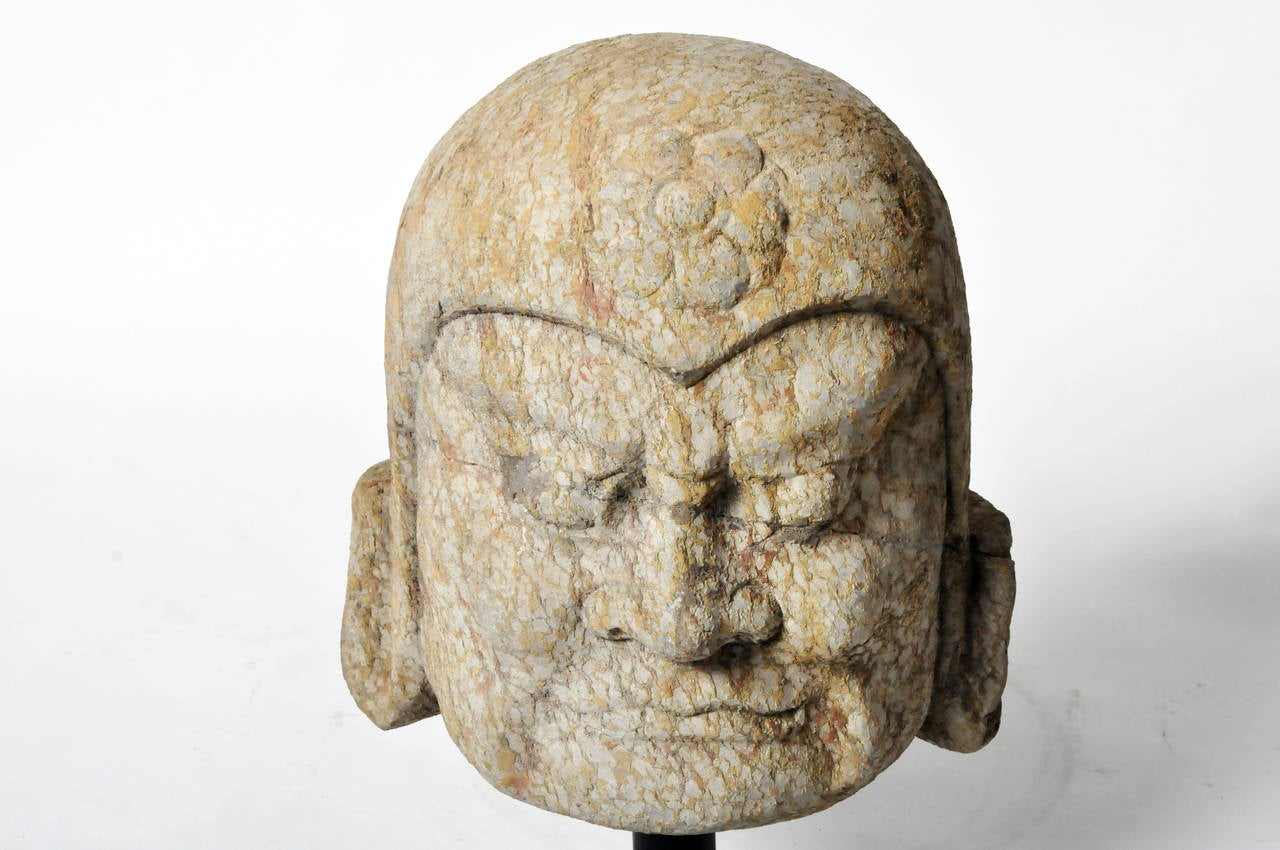 Chinese stone head carving of a warrior at stdibs