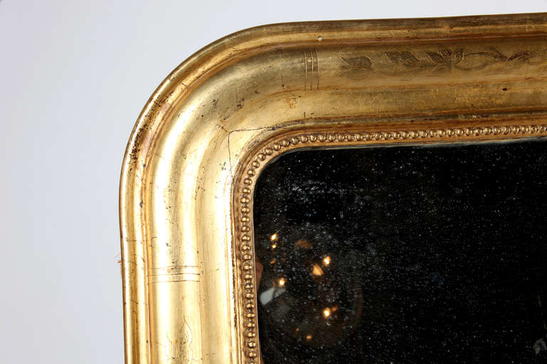 Louis Philippe Style Giltwood Mirror In Good Condition For Sale In Chicago, IL