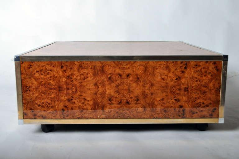 Art deco burl wood and brass cube coffee tables for sale for Wood cube coffee table set