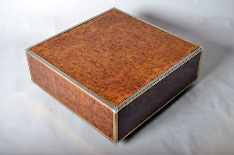 Art Deco Burl Wood And Brass Cube Coffee Tables For Sale At 1stdibs