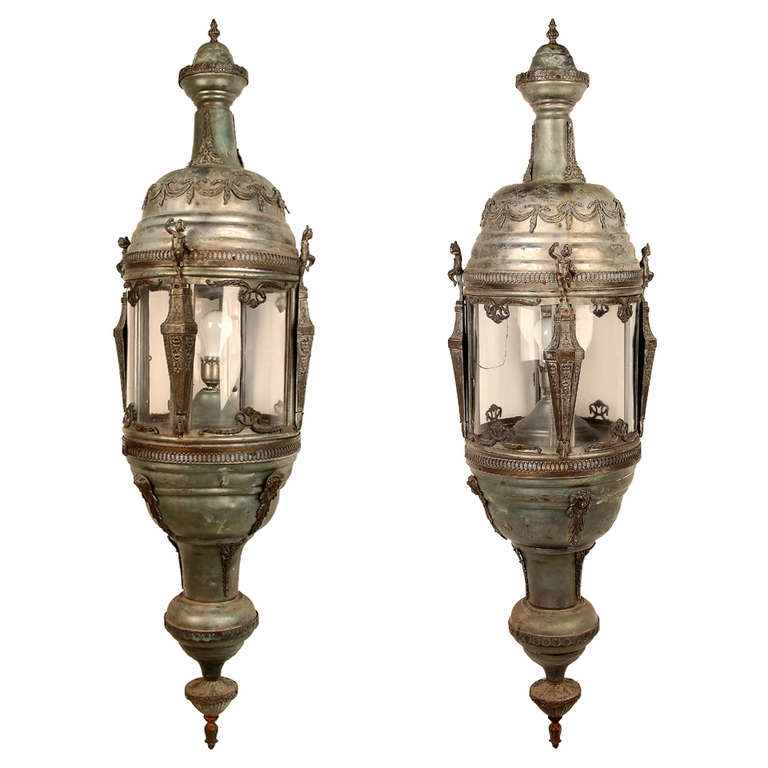 Pair of Monumental Louis XVI Style Lanterns