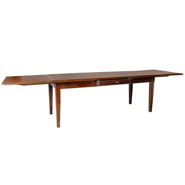 French Country Dining Table With Extensions And Drawer At
