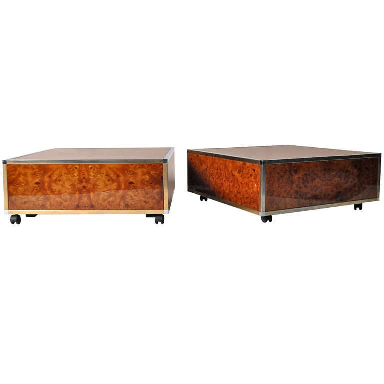 Art Deco Burl Wood And Brass Cube Coffee Tables For Sale