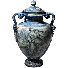 Lidded Blue and White Urn