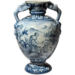 French Blue and White Baluster Vase