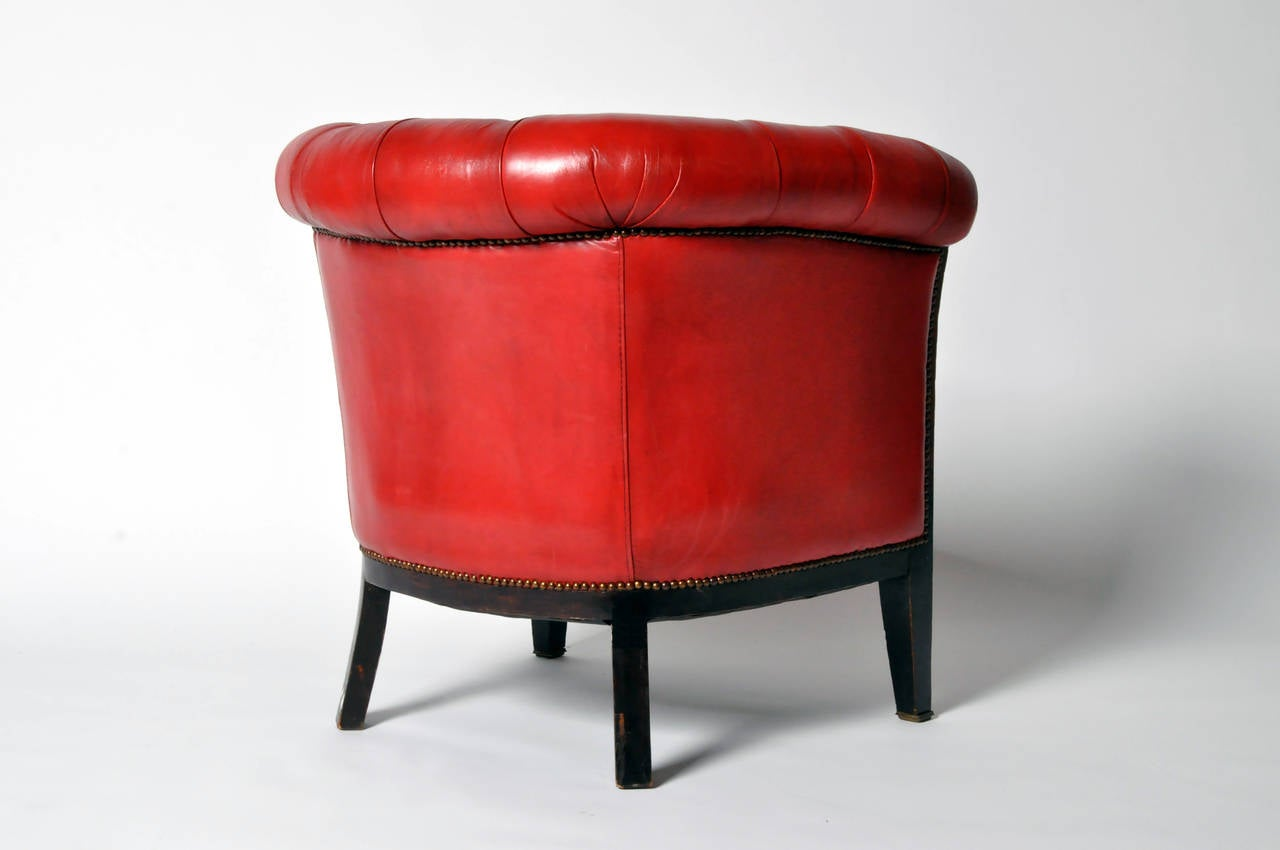 Vintage Tufted Red Leather Chair at 1stdibs
