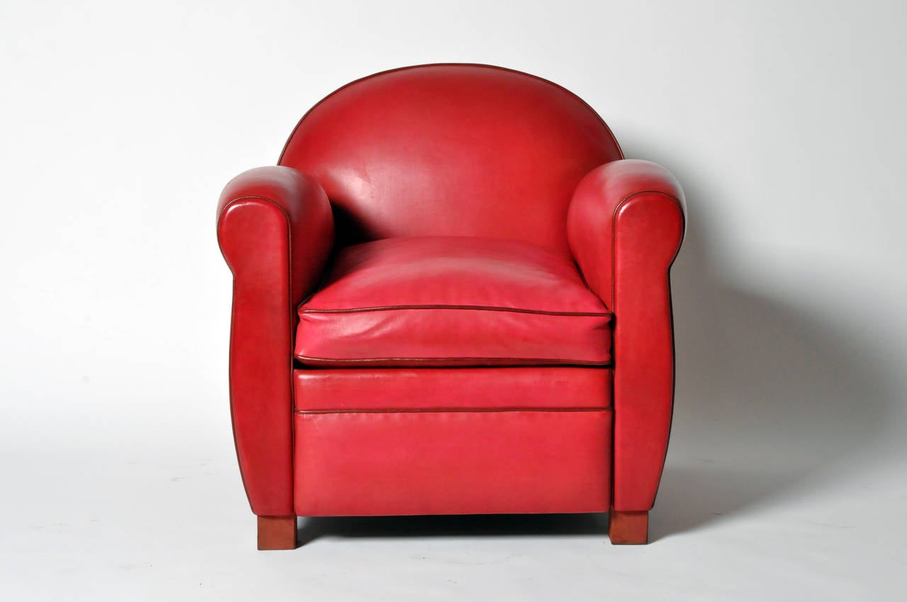 Awesome Pair Of Red Round Back Leather Club Chairs 3
