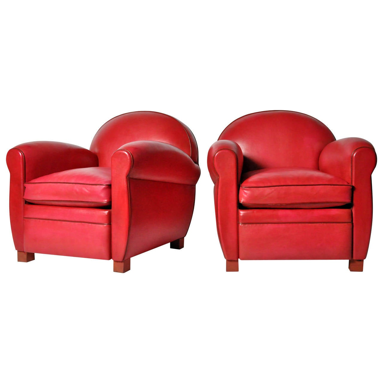 Pair Of Red Round Back Leather Club Chairs 1
