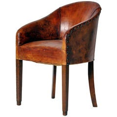 French Leather Tub Chair
