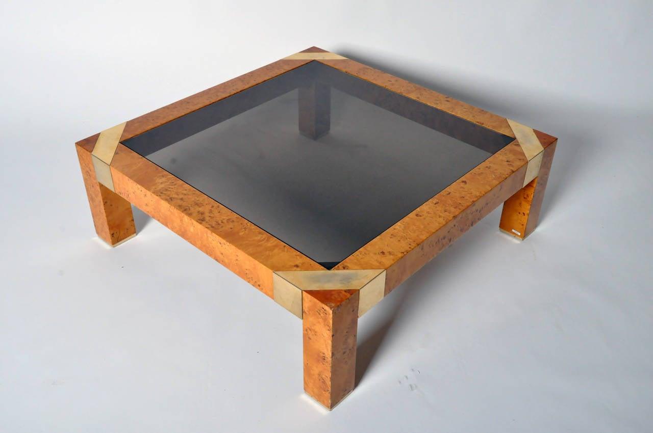 Burl Veneer And Smoked Glass Coffee Table For Sale At 1stdibs