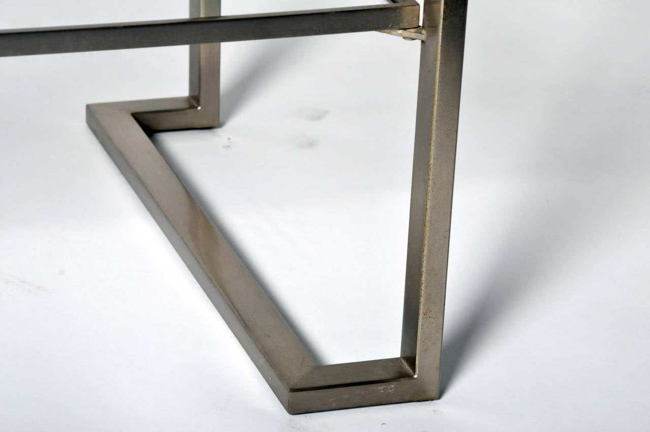 Pair of metal and glass side tables at 1stdibs