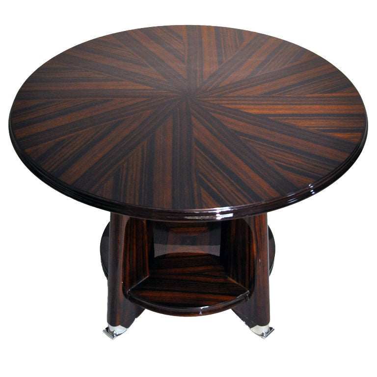 Walnut Veneer Round Table With Silver Plated Legs At 1stdibs