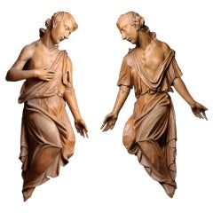 Pair of Baroque Angels Carved from Linden Wood