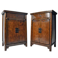 Pair of 19th Century Tall Chests with Round Posts