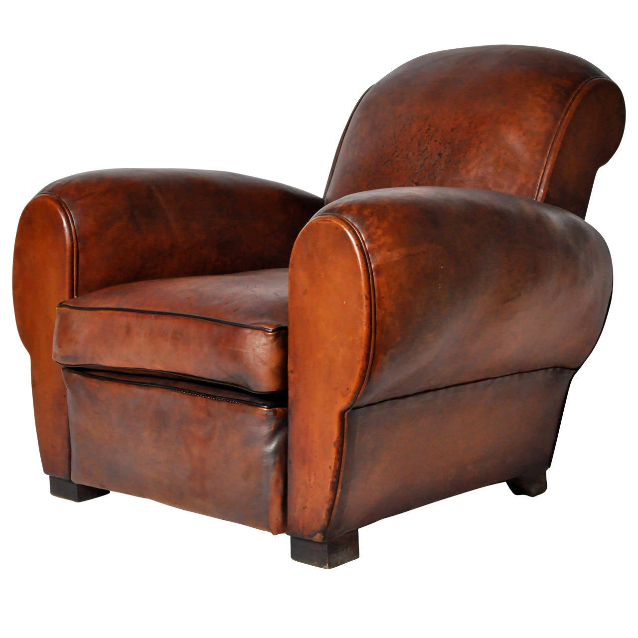 Vintage french leather club chair at 1stdibs for Furniture chairs