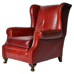 Vintage English Wingback Leather Armchair