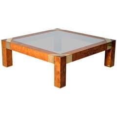 Burl Veneer and Smoked Glass Coffee Table