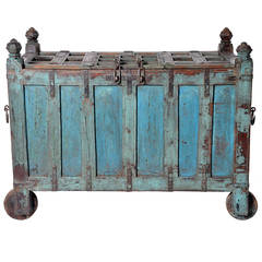 Blue Wooden Trunk from India