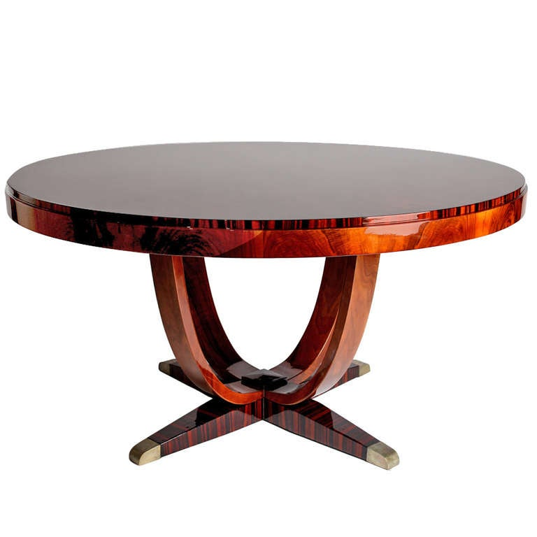 Round art deco dining table at 1stdibs - Table de nuit art deco ...