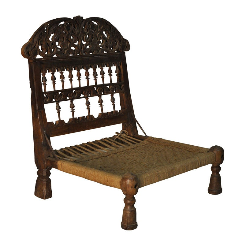 Wooden Pida Chair With Carving At 1stdibs