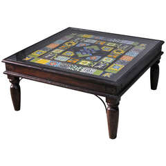 Midcentury Indian Old Tile Panels Converted into Coffee Tables