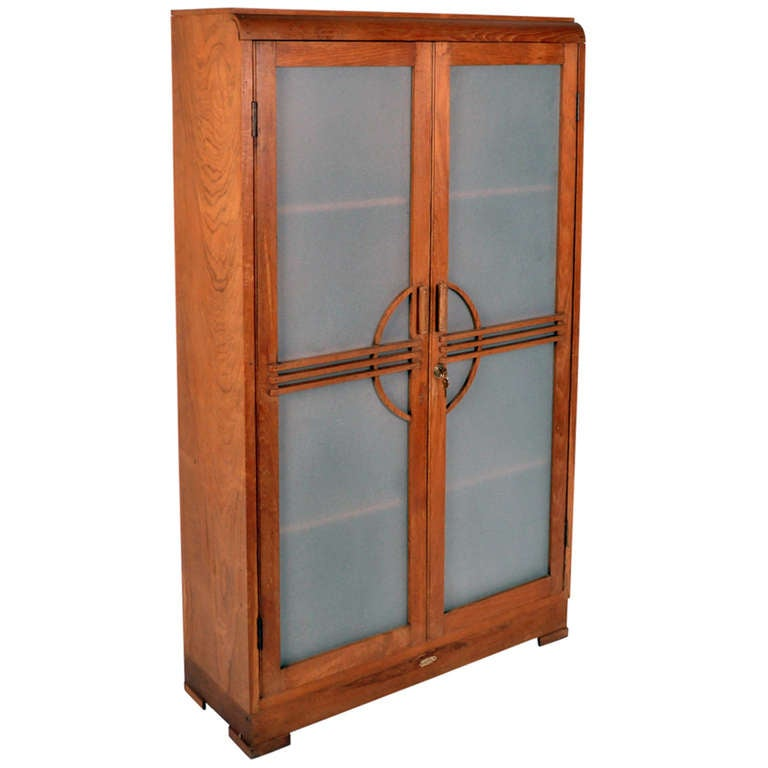 Art Deco Cabinet With Frosted Glass Doors At 1stdibs