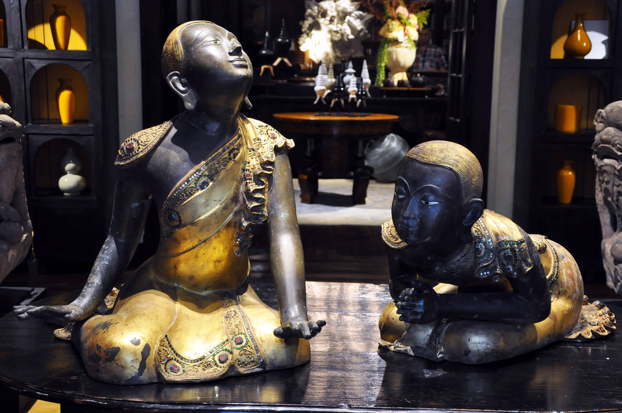 According to Buddhist tradition, the Buddha had two first Chief Disciples, Sāriputta and Moggallāna. Depictions of these apostles are often found along side Buddha statues on temple altars. In South East Asia, most of these sculptures are wooden.