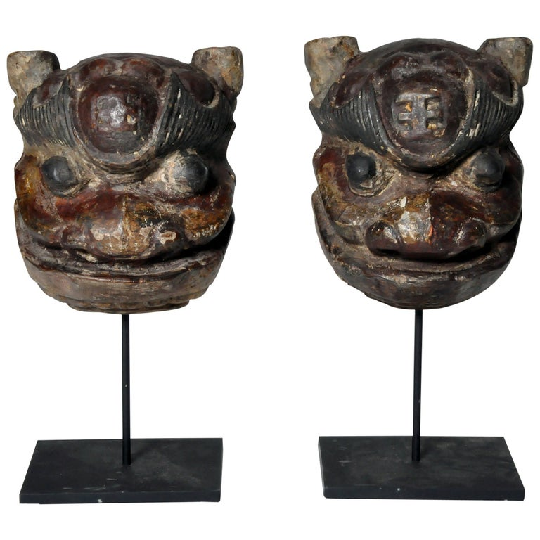 Carved Chinese Masks on Stands