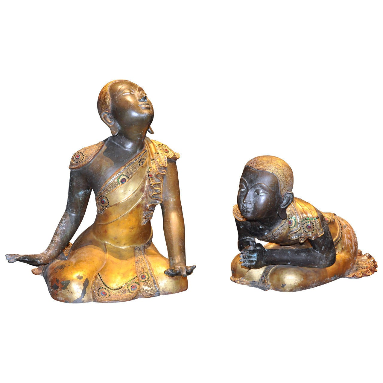 Pair of Patinated Gilt Bronze Buddhist Apostles For Sale