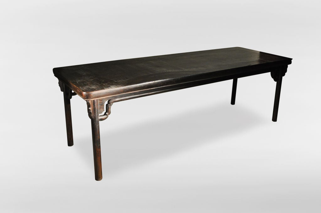 Chinese dining table with stretcher at 1stdibs for Oriental dining table