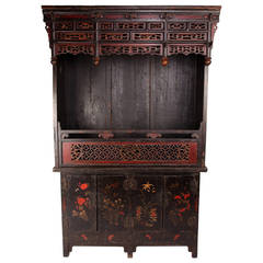 Massive Chinese Ancestral Shrine And Cabinet