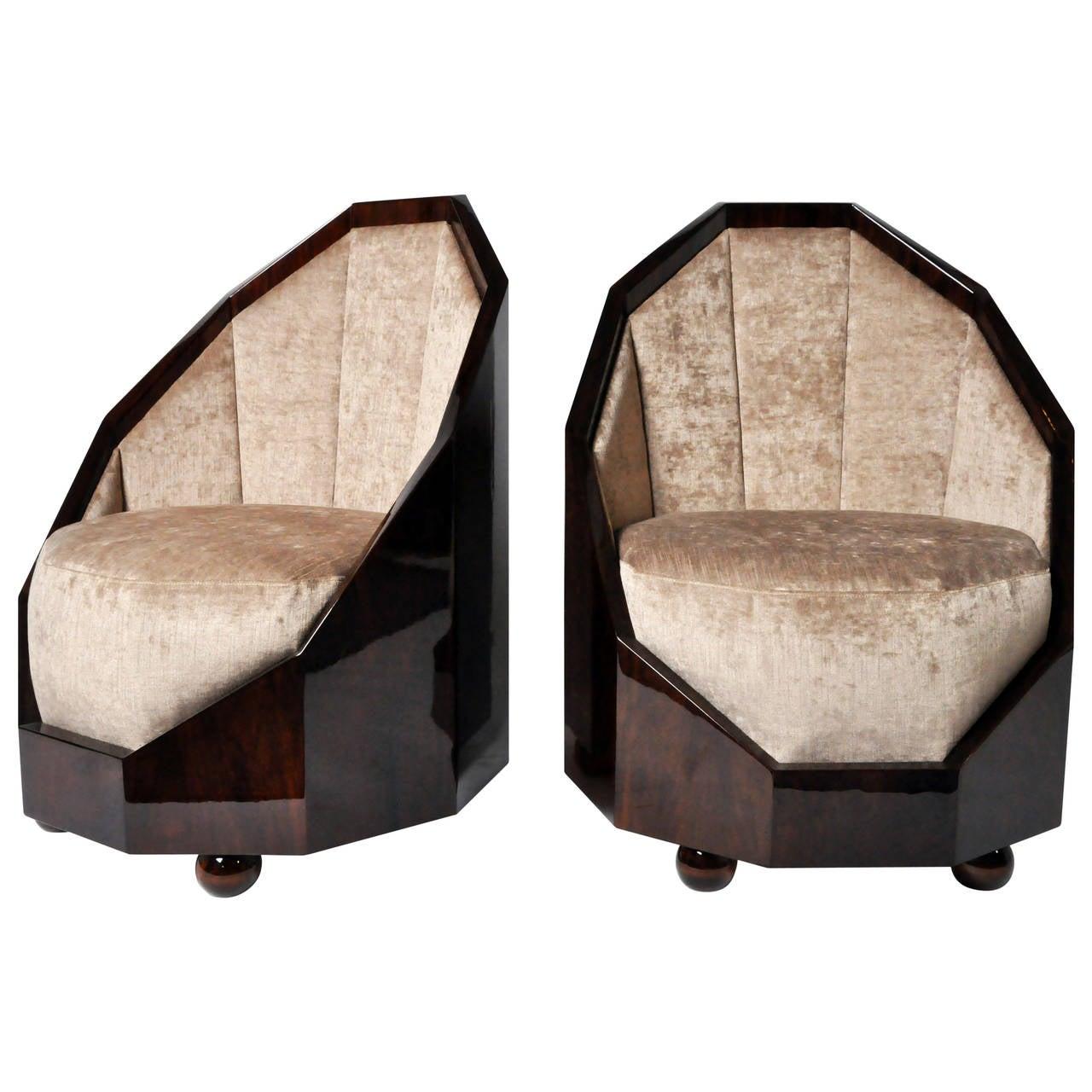 pair of walnut veneer cocoon chairs at 1stdibs