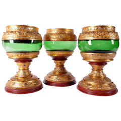 Gilt and Glass Alms Bowls