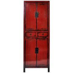 19th Century Narrow Cabinet with Red Lacquer