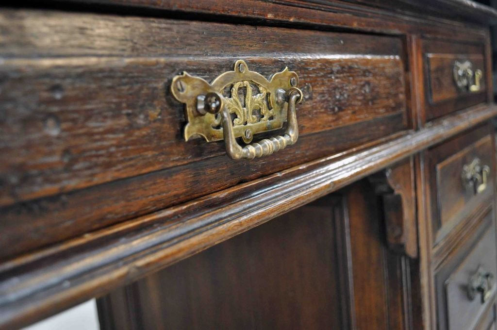 Teak British Colonial Desk with 5 Drawers