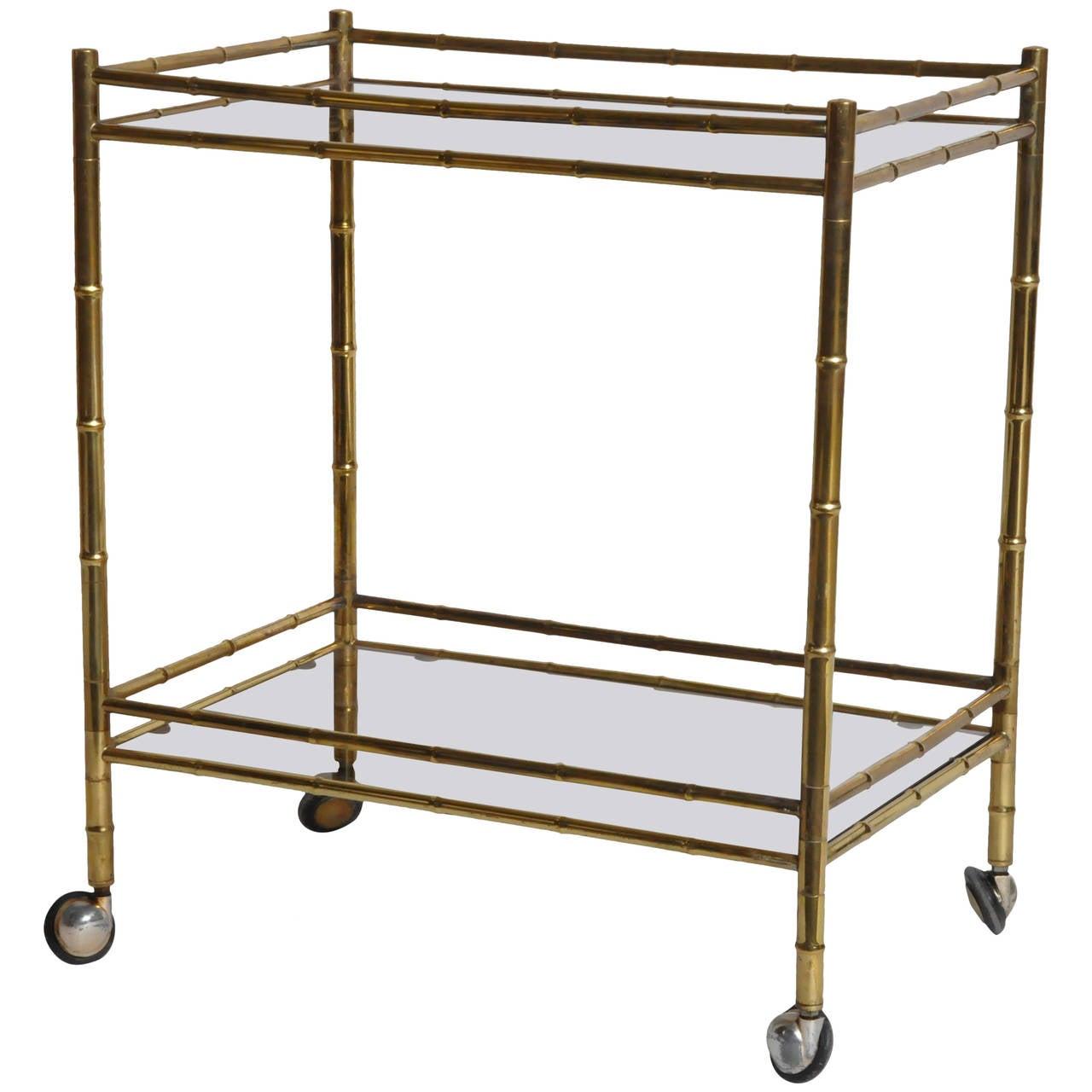 Mid Century Modern Brass And Glass Bar Cart At 1stdibs