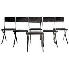 Set of Contemporary Steel Chairs in the Style of John Vesey