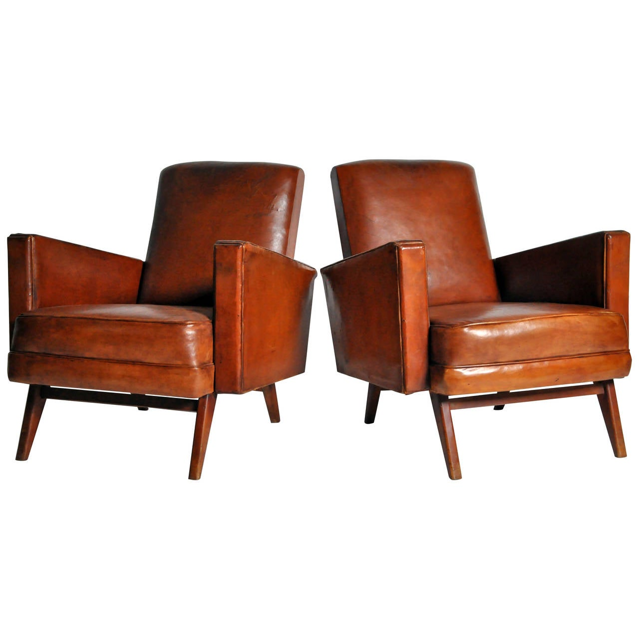 Mid Century Modern Armchairs: Pair Of Mid-Century Modern Square Armchairs At 1stdibs