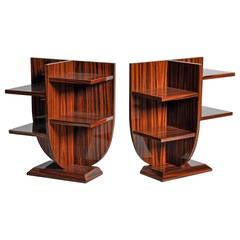 Pair of Diminutive Lyre-Form Display Tables