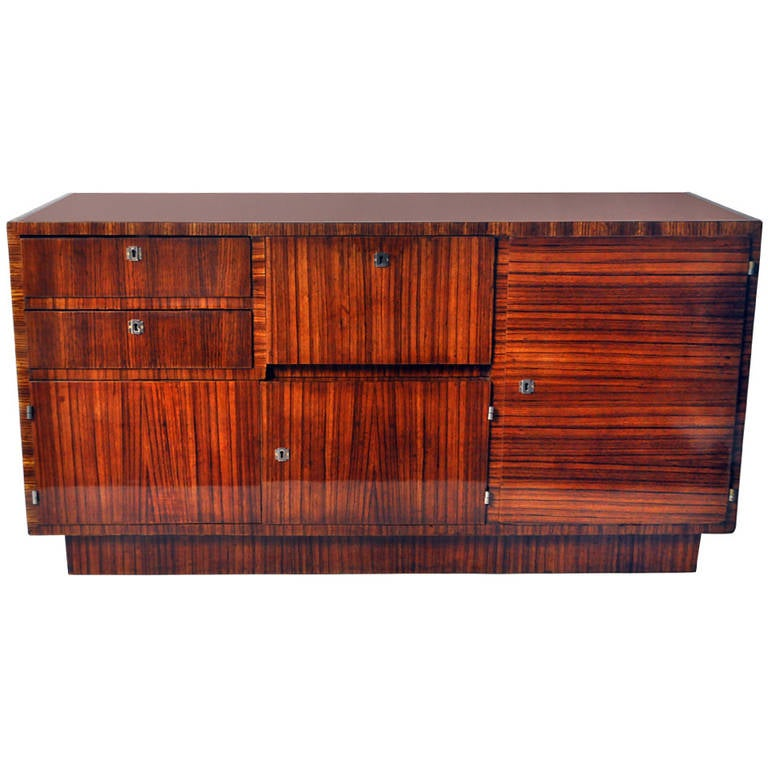 art deco bauhaus credenza with black glass at 1stdibs. Black Bedroom Furniture Sets. Home Design Ideas