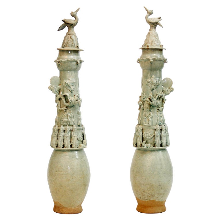 Pair of Chinese Yingqing Vases