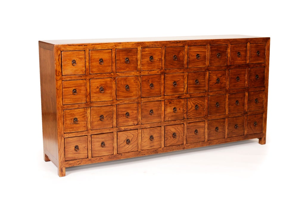 19th Century Elm Chinese Medicine Cabinet For Sale