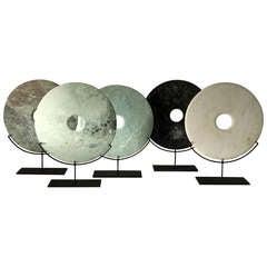 Stone Ritual Discs on Metal Stand