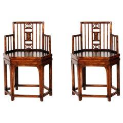 Pair of Chinese Hexagonal Armchairs
