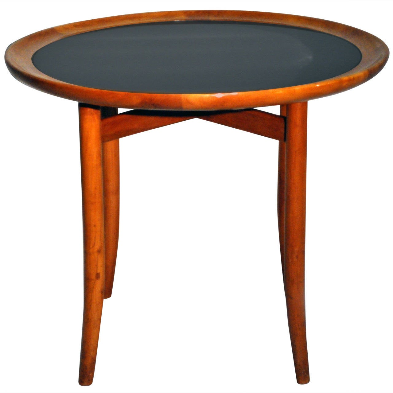 Art deco round tea table with black glass at 1stdibs for Glass tea table price