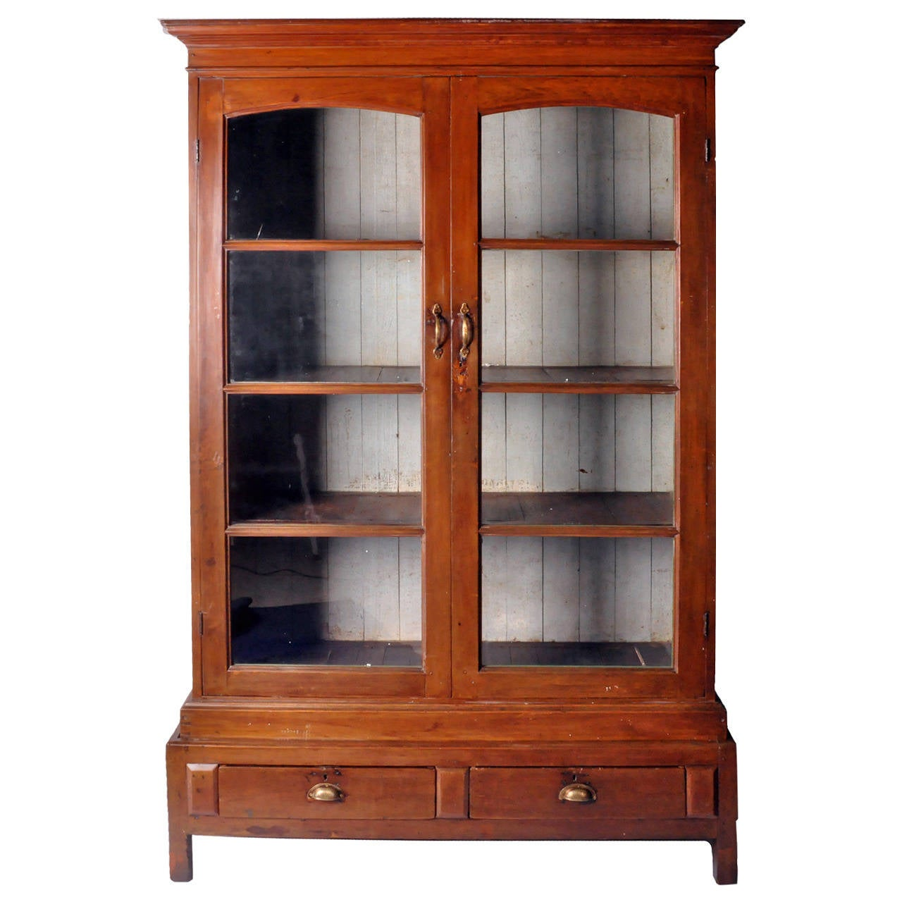 British Colonial Display Cabinet with Two Drawers For Sale at 1stdibs
